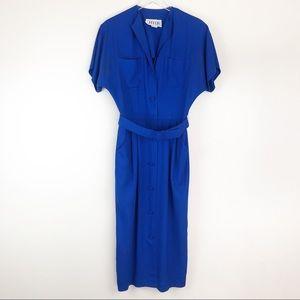 VINTAGE l J. Ellis Royal Blue Midi Dress
